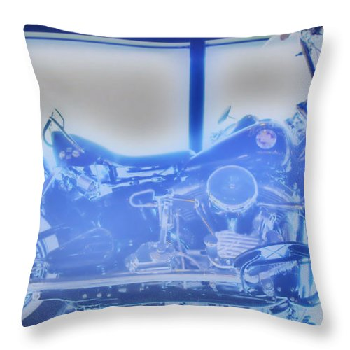 Elvis Presley Throw Pillow featuring the photograph Elvis Presley Harley Davidson Hdr by Thomas MacPherson Jr