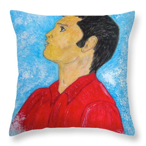 Elvis Presely Throw Pillow featuring the painting Elvis Presley Singing by Kathy Marrs Chandler