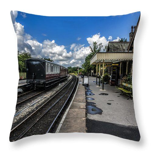 Train Throw Pillow featuring the photograph Embsay Railway Station Yorks Dales by Trevor Kersley