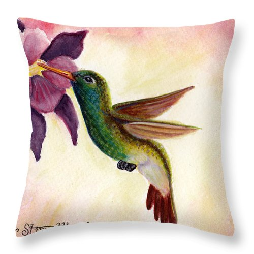 Pink Throw Pillow featuring the painting Emerald Beauty by Heather Stinnett