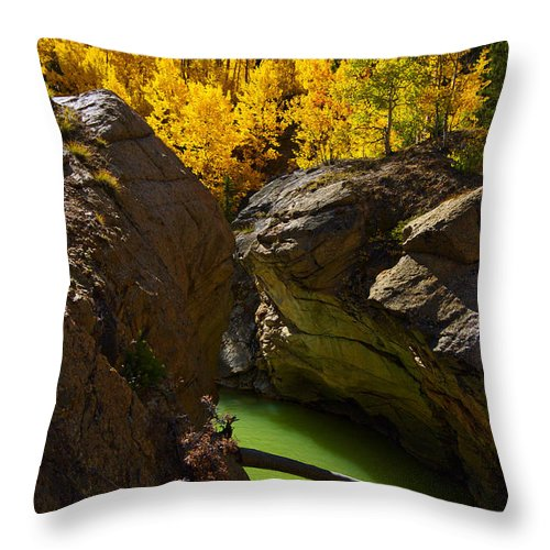 Colorado Throw Pillow featuring the photograph Emerald Canyon by Jeremy Rhoades