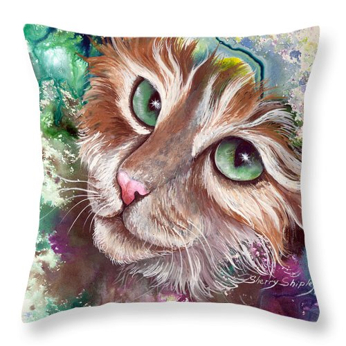 Cat Throw Pillow featuring the painting Emerald Eyes by Sherry Shipley