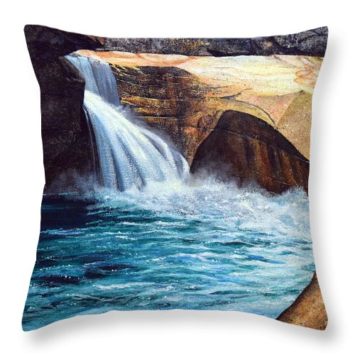 Emerald Pool Throw Pillow featuring the painting Emerald Pool by Frank Wilson