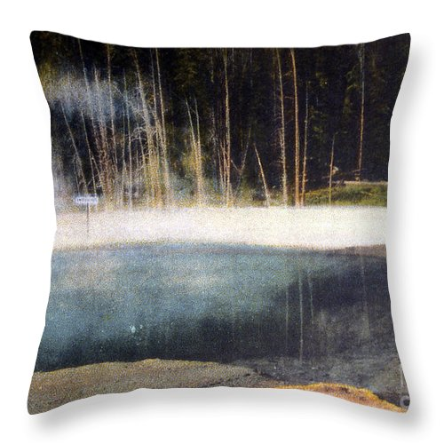 History Throw Pillow featuring the photograph Emerald Pool Yellowstone Np 1928 by NPS Photo Asahel Curtis