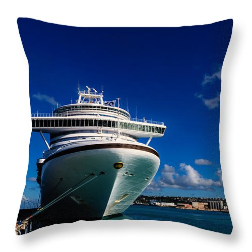Cruise Throw Pillow featuring the photograph Emerald Princess Docked In Barbados by AE Jones
