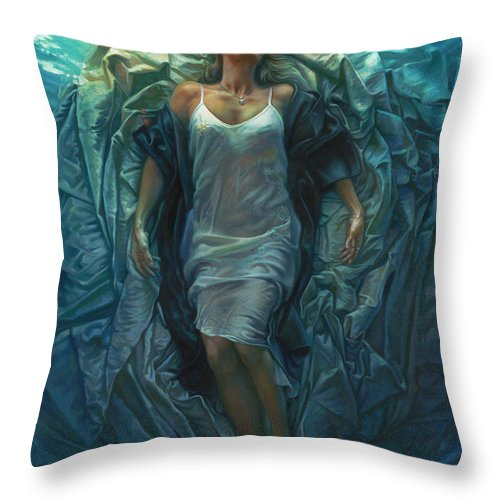 Conceptual Throw Pillow featuring the painting Emerge Painting by Mia Tavonatti