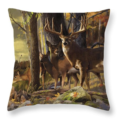 Wall Art Throw Pillow featuring the painting Eminence At The Forest Edge by Rob Corsetti