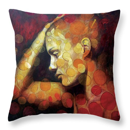Portrait Throw Pillow featuring the painting Emotions by Karina Llergo