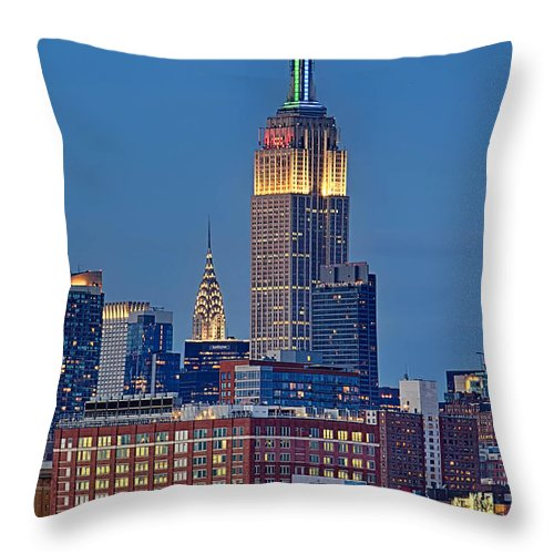 Chrysler Building Throw Pillow featuring the photograph Empire And Chrysler Buildings by Jerry Fornarotto