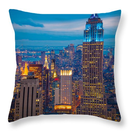 America Throw Pillow featuring the photograph Empire State Blue Night by Inge Johnsson