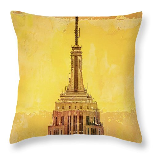 New York Throw Pillow featuring the digital art Empire State Building 4 by Az Jackson
