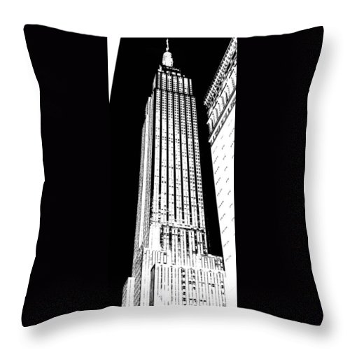 Empire State Building Throw Pillow featuring the digital art Empire State Building In Constrasting White by Elizabeth Rye