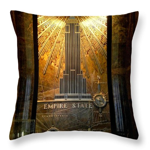 New York Throw Pillow featuring the photograph Empire State Building - Magnificent Lobby by Miriam Danar