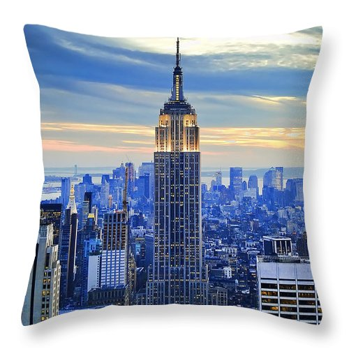New York City Throw Pillow featuring the photograph Empire State Building New York City USA by Sabine Jacobs