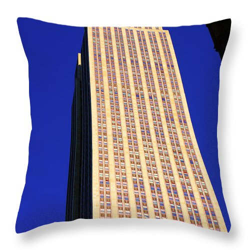 New York Throw Pillow featuring the photograph Empire State Building by Steven Baier