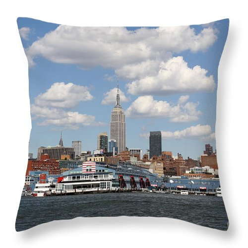 City Throw Pillow featuring the photograph Empire State From The Water by Terry Weaver