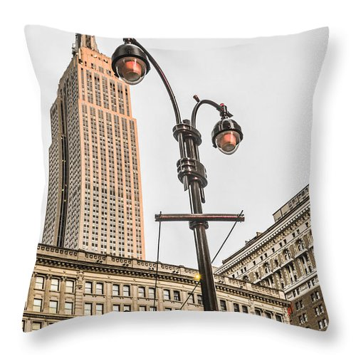 Broadway Throw Pillow featuring the photograph Empire State Sunset by Maria isabel Villamonte