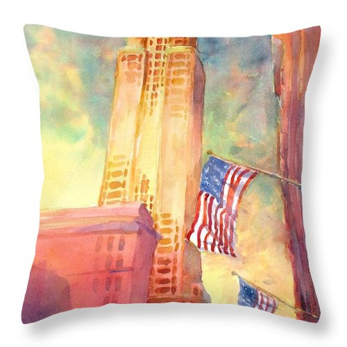 Landscape Throw Pillow featuring the painting Empire State by Virgil Carter
