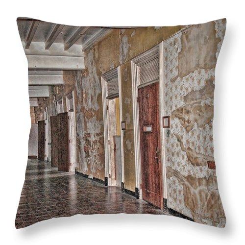 Hallway Throw Pillow featuring the digital art Empty by Anita Hubbard