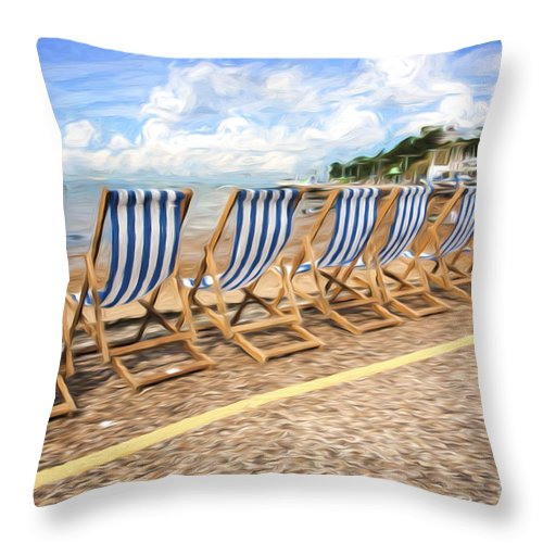 Deckchairs Throw Pillow featuring the photograph Empty deckchairs at Southend on Sea by Sheila Smart Fine Art Photography