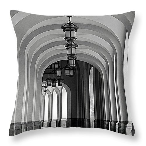 Arch Throw Pillow featuring the photograph Empty Road by Getty Contibu