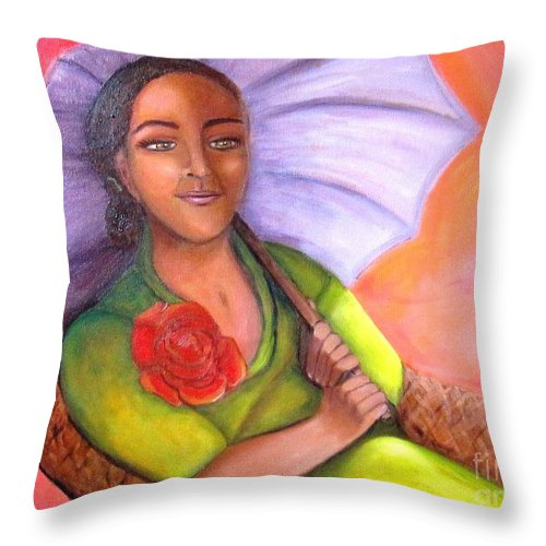 Rose Throw Pillow featuring the painting Enchanted Rose by Laurie Morgan