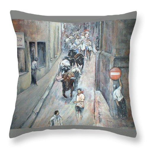 Encierros Throw Pillow featuring the painting Encierro by Tomas Castano
