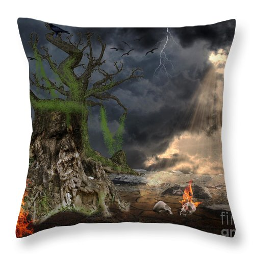 Fantasy Throw Pillow featuring the digital art End Of Dark Night by Image World