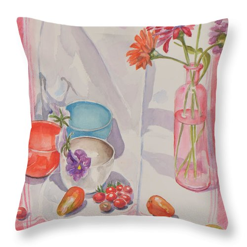Still Life Throw Pillow featuring the painting End Of Summer by Marianne O'Hare