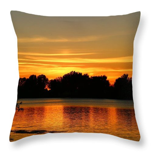 Sunset Throw Pillow featuring the photograph End Of Summer Sunset by Lynn Hopwood