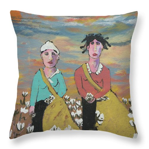 Cotton Throw Pillow featuring the painting End Of The Day by Ken Blacktop Gentle