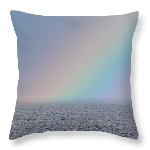 Rainbow Throw Pillow featuring the photograph End Of The Rainbow by Michael Saunders