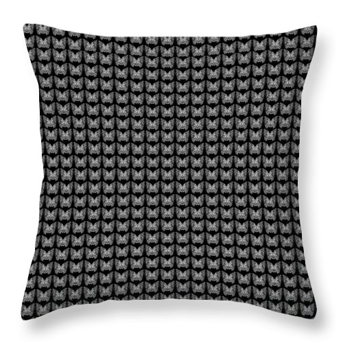 Butterfly Throw Pillow featuring the drawing Endless Butterflies On Black by Helena Tiainen