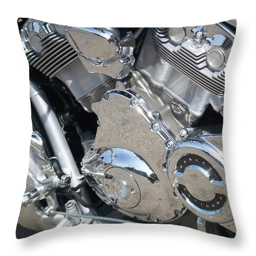 Motorcycles Throw Pillow featuring the photograph Engine Close-up 3 by Anita Burgermeister