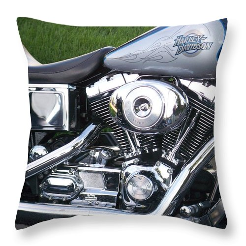 Motorcycles Throw Pillow featuring the photograph Engine Close-up 5 by Anita Burgermeister