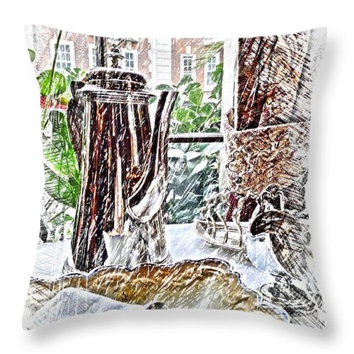 Sherlock Holmes Throw Pillow featuring the digital art English Afternoon by Eve Mercer