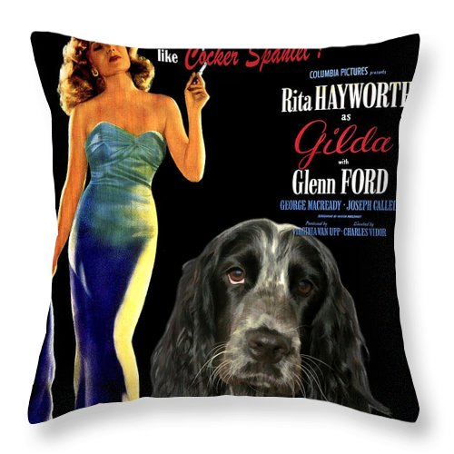 Cocker Spaniel Throw Pillow featuring the painting English Cocker Spaniel Art - Gilda by Sandra Sij
