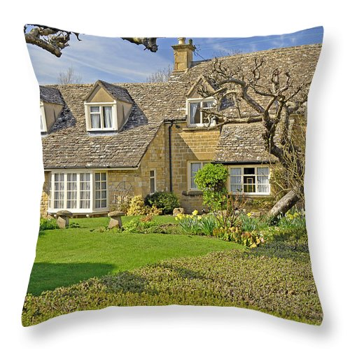 Travel Throw Pillow featuring the photograph English Cottage by Elvis Vaughn