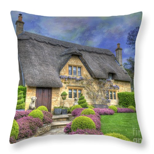 Architecture Throw Pillow featuring the photograph English Country Cottage by Juli Scalzi