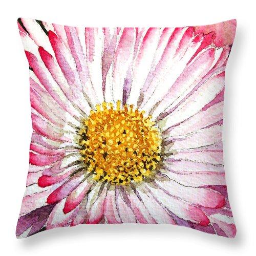 English Daisy Throw Pillow featuring the painting English Daisy by Irina Sztukowski