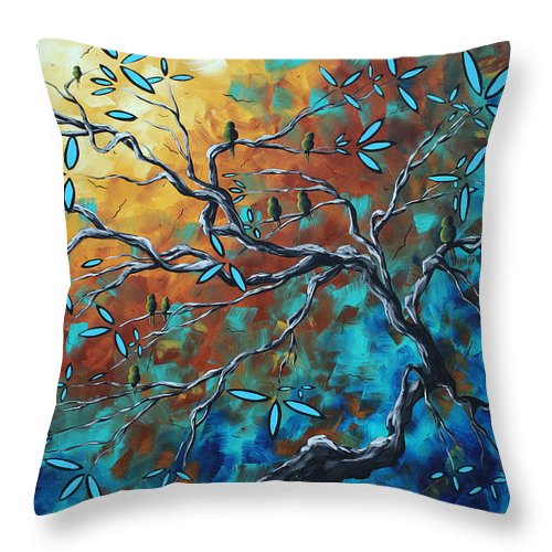 Art Throw Pillow featuring the painting Enormous Abstract Bird Art Original Painting Where The Heart Is By Madart by Megan Duncanson