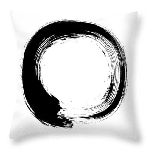 East Throw Pillow featuring the digital art Enso – Circular Brush Stroke Japanese by Thoth adan