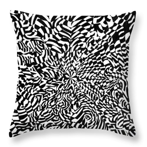 Abstract Throw Pillow featuring the drawing Entangle by Crystal Hubbard