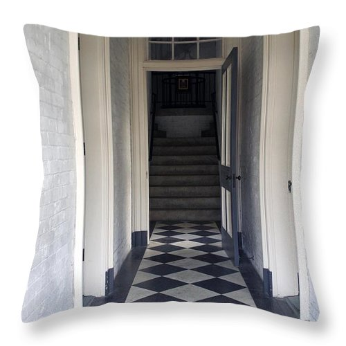 St. Augustine Lighthouse Hallway Throw Pillow featuring the photograph Enter The Light by Laurie Perry