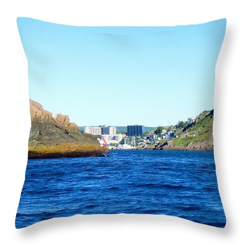Entering The Narrows Near Fort Amherst Rock By Barbara Griffin Throw Pillow featuring the photograph Entering The Narrows Near Fort Amherst Rock By Barbara Griffin by Barbara Griffin