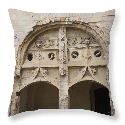 Cloister Throw Pillow featuring the photograph Entrance Fontevraud Abbey- France by Christiane Schulze Art And Photography