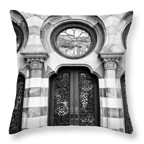 Charleston Throw Pillow featuring the photograph Entry Bw Charleston Sc by William Dey