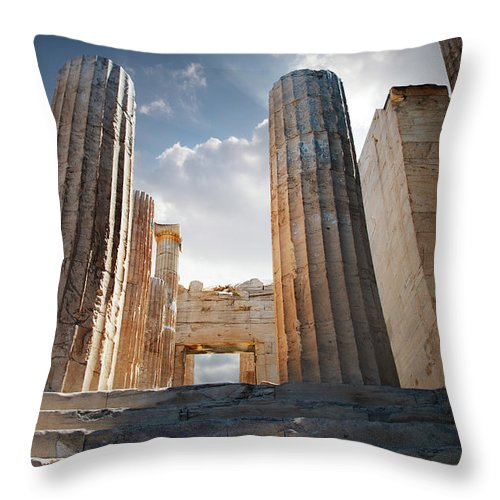 Tranquility Throw Pillow featuring the photograph Entryway Into The Acropolis by Ed Freeman