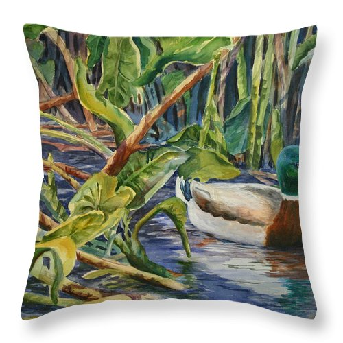 Florida Throw Pillow featuring the painting Environmentally Sound - Mallard Duck by Roxanne Tobaison