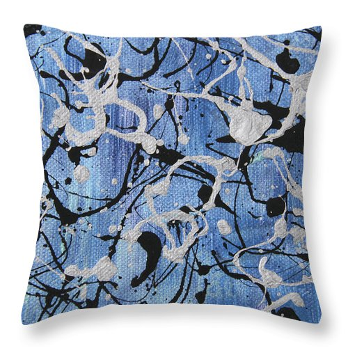 Abstract Throw Pillow featuring the painting Enya Blue by Laura Lane